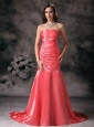 Latest Watermelon Red Prom Dress Mermaid Strapless