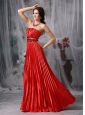 Luxurious Red Column Strapless Taffeta Pleat Beading Evening Dress Floor-length