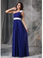 Modest Royal Blue and White Empire One Shoulder Prom Dress Chiffon Handle Flowers Floor-length