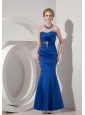 Modest Royal Blue Evening Dress Mermaid Sweetheart Elastic Woven Satin Beading Ankle-length