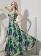 Perfect Colorful Evening Dress Empire Straps Printing Beading Floor-length
