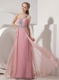 Pink Column One Shoulder Prom Dress Chiffon Beading Floor-length