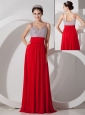 Pretty Red Empire Straps Prom Dress Chiffon Beading and Ruch Floor-length