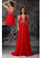 Pretty Red Evening Dress A-line V-neck Chiffon Beading Brush Train