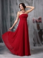 Simple Wine Red Evening Dress Empire Strapless Chiffon Ruch Floor-length