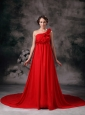 Sweet Red Empire One Shoulder Court Train Chiffon Prom / Evening Dress
