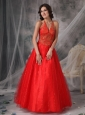 Unique Red A-line Halter Prom Dress Tulle Beading and Appliques
