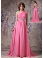 Wonderful Rose Pink Empire One Shoulder Prom Dress Chiffon Ruch And Beading Brush Train