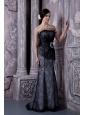 Beautiful Black Mermaid Strapless Evening Dress Organza Beading Floor-length