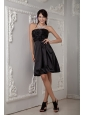 Black Bridesmaid Dress Under 100 Column Strapless Taffeta Hand Made Flower and Ruch Knee-length