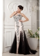Brand New Champagne Column Evening Dress Sweetheart Tulle and Satin Appliques With Beading