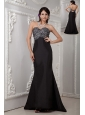 Cheap Black Column Evening Dress Sweetheart Satin Beading Brush Train