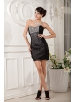 Custom Made Black Column Sweetheart Cocktail Dress Tulle Beading Mini-length