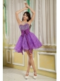 Customize Lavender A-line / Princess Cocktail Dress Sweetheart Mini-length Organza Beading