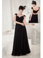 Discount Black Empire Little Black Dress V-neck Chiffon Beading Floor-length
