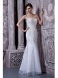 Elegant White Mermaid Sweetheart Prom Evening Dress Beading Floor-length