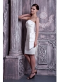 Elegant White Column Strapless Cocktail Dress Elastic Woven Satin Ruch Knee-length