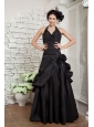 Exquisite Black Dress A-line Halter Taffeta Hand Made Flowers Floor-length