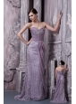Lavender Column Sweetheart Evening Dress Special Fabric and Chiffon Beading Brush Train