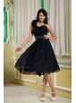 Navy Blue Bridesmaid Dress Under 100 A-line / Princess One Shoulder Chiffon Hand Made Flowers Knee-length