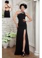 Popular Black Empire Little Black Dress One Shoulder Chiffon Floor-length Beading