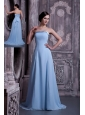 Pretty Light Blue A-line Strapless Prom / Homecoming Dress Satin and Chiffon Brush Train