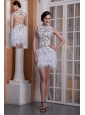 2013 New Style White Column Scoop Feather and Elastic Woven Satin Cocktail Dress Mini-length