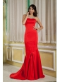 2013 Red Mother Of The Bride Dress Mermaid Strapless Satin Brush Train