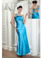 Affordable Teal Column Prom Dress One Shoulder Beading and Ruch Ankle-length Satin