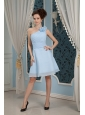 Baby Blue Bridesmaid Dress Under 100 A-line / Princess One Shoulder Chiffon Hand Made Flowers