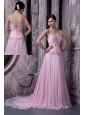 Baby Pink 2013 Prom / Celebrity Dress A-line Sweetheart Chiffon Beading Sweep Train