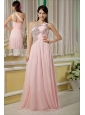 Baby Pink Prom / Pageant Dress For Custom Made Empire Asymmertrical Chiffon Beading Floor-length