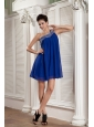 Beaded Peacock Blue Empire Prom / Homecoming Dress One Shoulder Chiffon Beading Mini-length