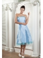 Beautiful Baby Blue Bridesmaid Dress A-line Strapless Tea-length Taffeta Ruch