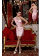 Beautiful Baby Pink Column One Shoulder Cocktail Dress Taffeta Beading and Bowknot Mini-length