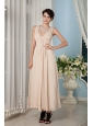 Beautiful Champagne Bridesmaid Dress Empire Straps Ankle-length Chiffon Ruch