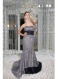Beautiful Mermaid Strapless Prom / Evening Dress Sequin and Taffeta Sash Brush Train