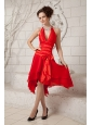Beautiful Red Empire Halter Prom / Homecoming Dress Chiffon Ruch Tea-length