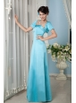 Cheap Aqua Blue Bridesmaid Dress Column Strapsless Floor-length Satin