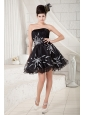Cheap Black A-line Strapless Cocktail Dress Organza Beading Mini-length