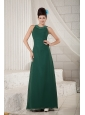 Cheap Dark Green Mother Of The Bride Dress Empire Scoop Floor-length Chiffon Beading