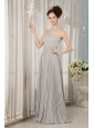 Cheap Grey Bridesmaid Dress Empire Strapless Chiffon Ruch Brush Train