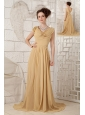 Classical Champagne Empire V-neck Evening Dress Chiffon Beading Brush Train