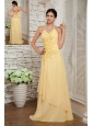 Classical Light Yellow Evening Dress Empire Halter Chiffon Appliques Brush Train