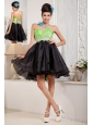 Custom Made Black and Spring Green A-line Prom / Homecoming Dress Sweetheart Mini-length Organza Beading
