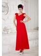 Custom Made Red Column Prom / Homecoming Dress V-neck Ankle-length Chiffon Beading