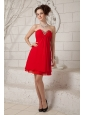 Custom Made Red Empire Sweetheart Prom / Homecoming Dress Mini-length Chiffon Beading