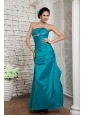 Custom Made Tuquoise Column Strapless Prom / Evening Dress Taffeta Beading Ankle-length