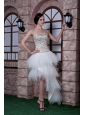 Custom Made White Column Strapless High-low Prom Dress Beading Taffeta and Tulle