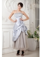 Customize Silver Column Strapless Prom Dress Satin and Tulle Beading Ankle-length